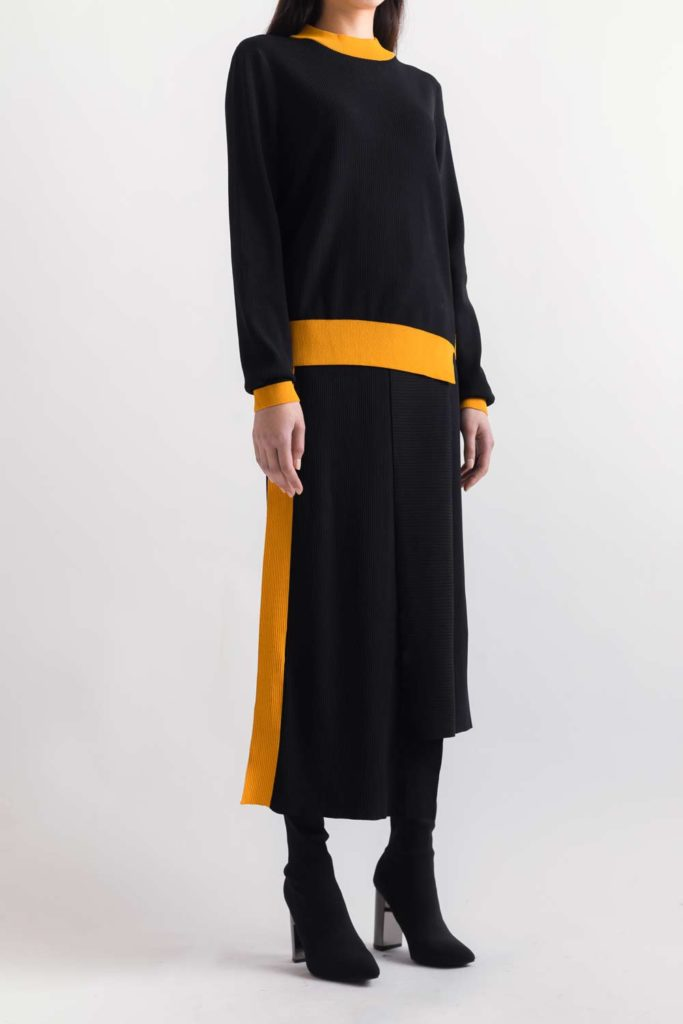 Chic black dress with yellow accents