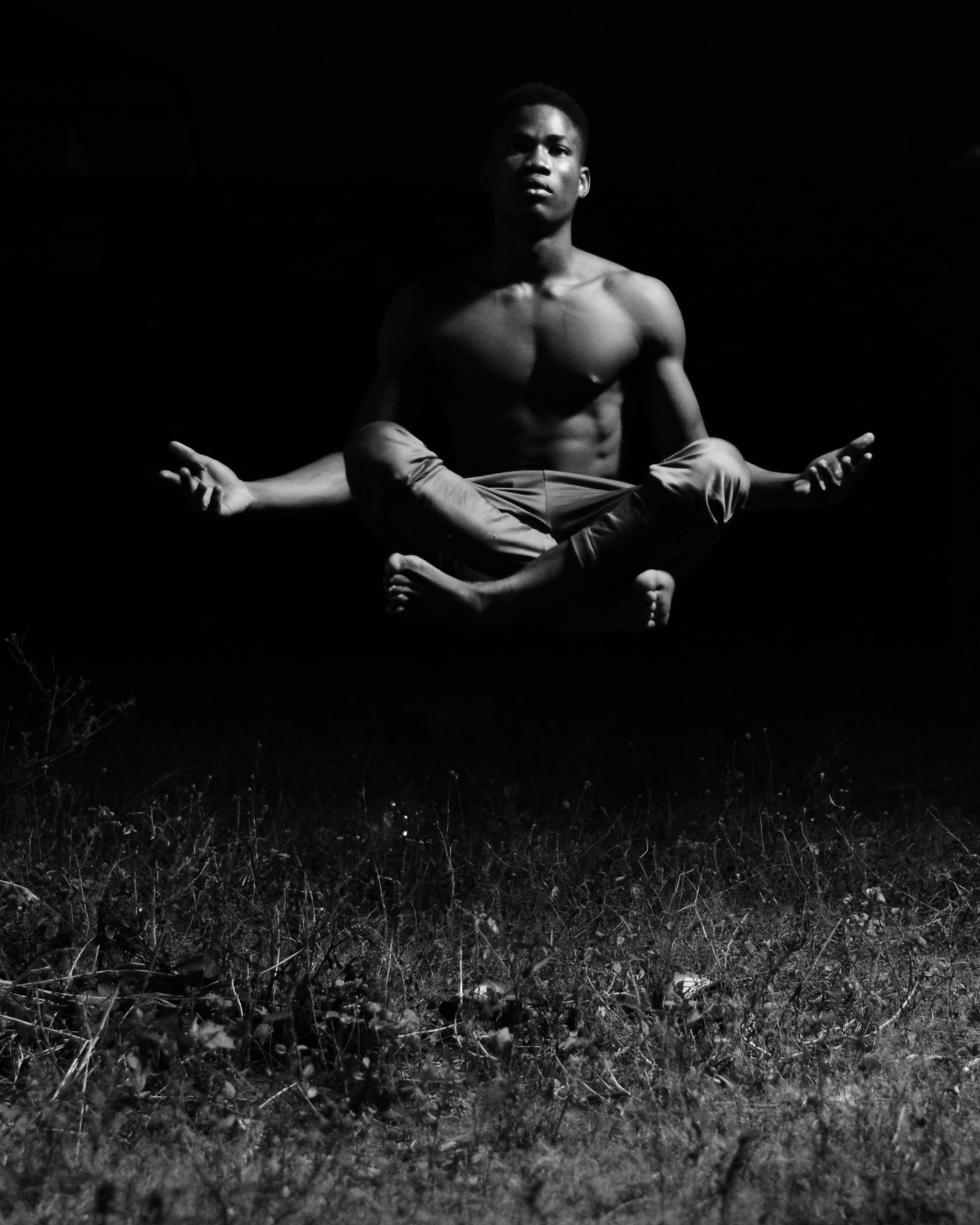 Black and white yoga pose photography